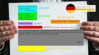 Deutscher Brief formell - Aufbau und Beispiel A1, A2, B1, B2 (Sehr geehrter Herr...)