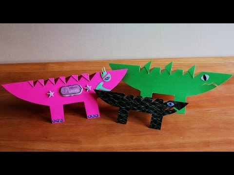 How to make a dinosaur and crocodile card using paper crafting ideas