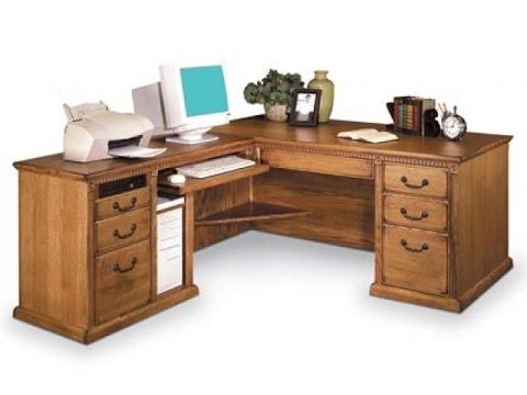 l shaped office desk - YouTube