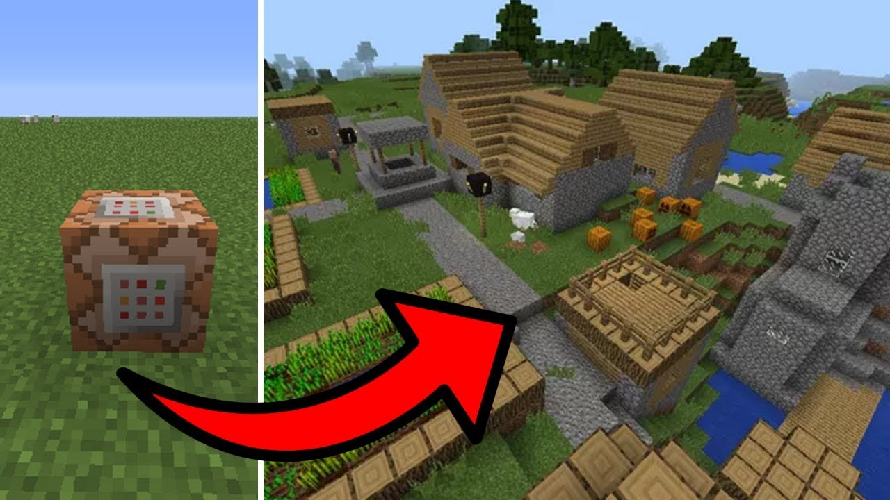 Minecraft Pe How To Spawn Villages With Commands Youtube