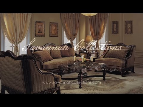 Luxury Living Room Collection in Antique Walnut by Savannah Collections - Bernhardt