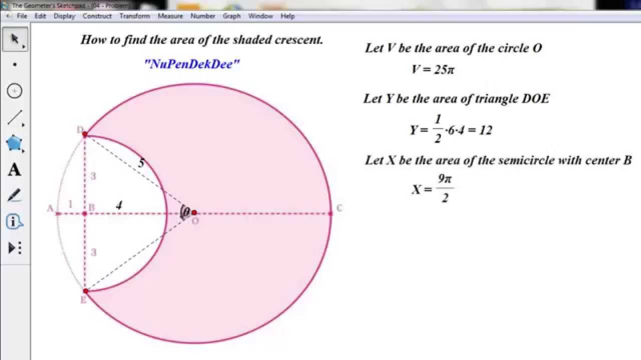 Find The Area Of The Shaded Crescent In Gsp5 Youtube