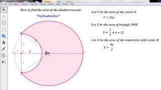 Find the area of the shaded crescent in GSP5