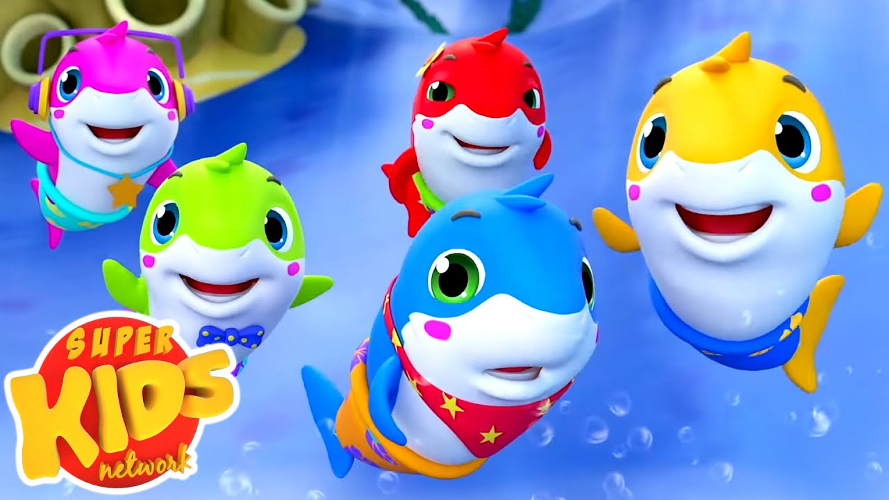 Five Little Sharks Went Swimming One Day | Baby Shark Song | Nursery Rhymes & Kids Songs