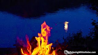 Campfire by a Lake   Sleep or Study to Water Sounds & Crackling Fire White Noise   10 Hours