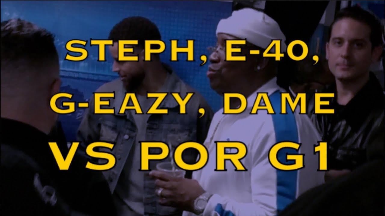buy online d74b9 3fddc Steph Curry w/ E-40, G-Eazy, Sheila E.; Lillard in Oakland Athletics jersey  postgame GSW-POR Game 1