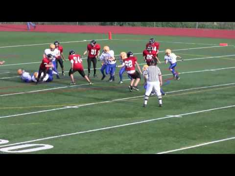 Mahopac Football -  Kyle Dillon comes up from Safety to Tackle RB vs Rye