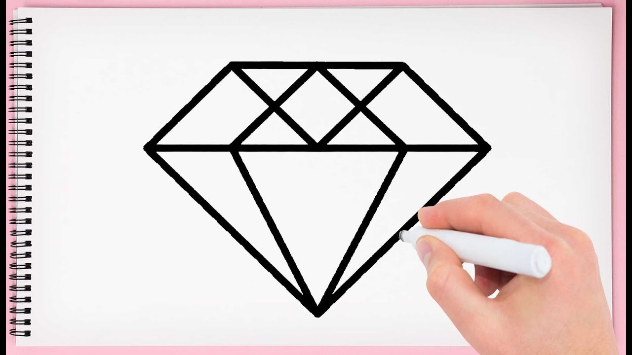 How To Draw Diamond For Kids Learn Easy And Simple Drawing Diamond