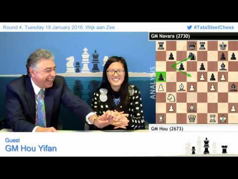 4- Hou Yifan amazing win against Navara, Post game Chess Analysis - Tata Steel Chess 2016