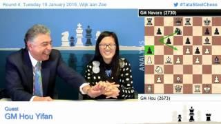 Hou Yifan amazing win against Navara, Post game Chess Analysis - Tata Steel Chess 2016