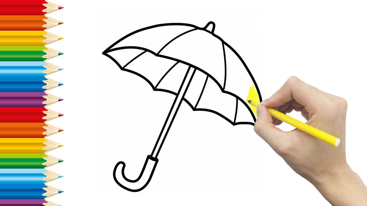 umbrella coloring pages for kid and learning how to draw umbrella