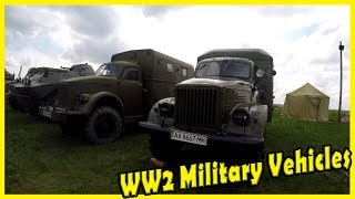 Old Military Vehicles WW2. Military Trucks and Armored Personal Carrier. Armored Motorcycles