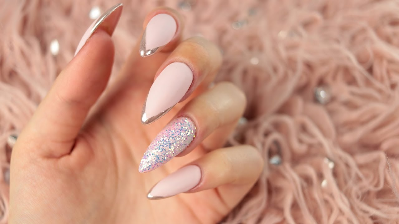 Metal Glass French Manicure Youtube