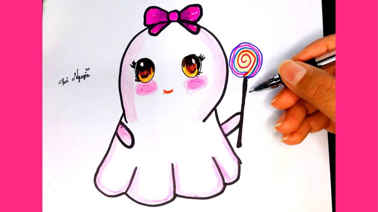 Hướng dẫn vẽ con ma dễ thương  vẽ ma halloween  How to Draw a Cute Ghost Easy  Thư Nguyễn