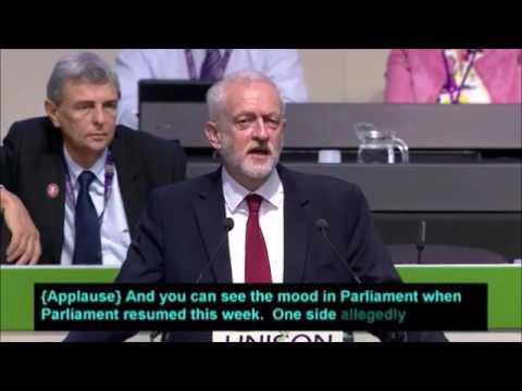 Jeremy Corbyn speaking at Unison conference #UNDC17