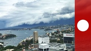 Time lapse: Rare shelf cloud engulfs Sydney harbour