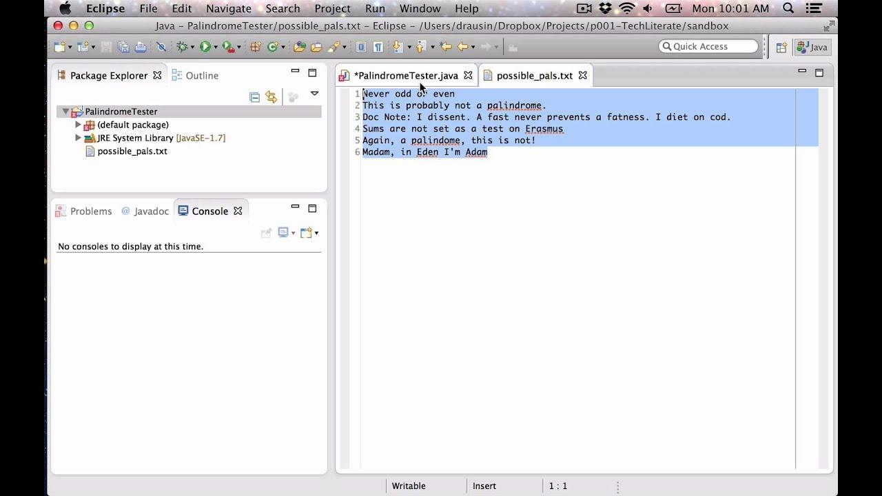 Java walk through: Palindome Tester