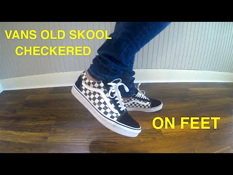 vans sk8 hi checkerboard on feet