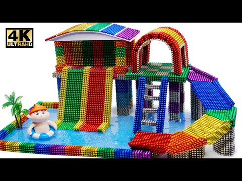 DIY - How To Build Swimming Pool Playground From Magnetic Balls (Satisfying) | Magnet World 4K