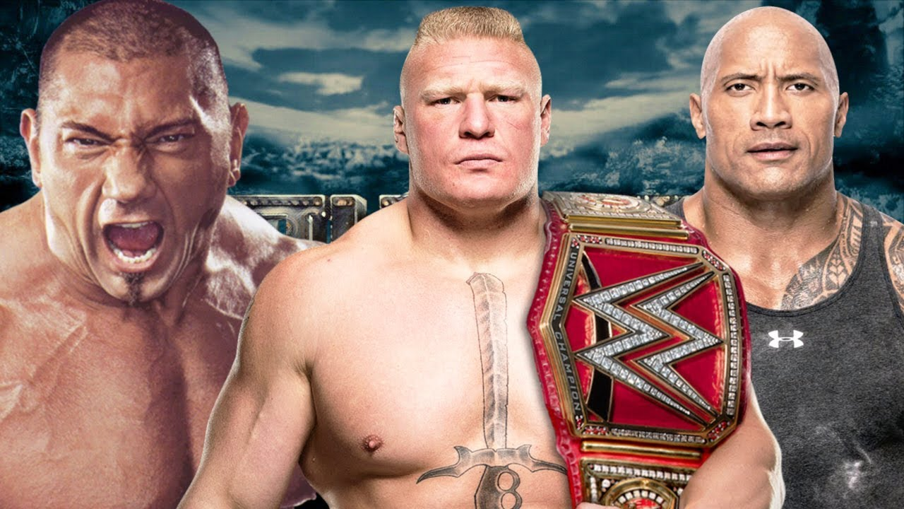 brock lesnar vs batista vs the rock youtube