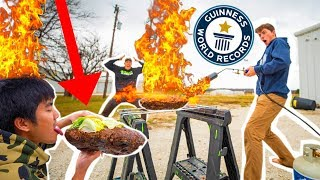 COOKING Worlds BIGGEST BURGER with a FLAME THROWER!