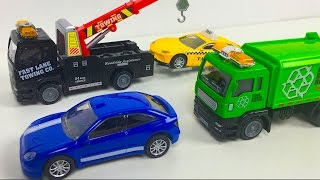 FAST LANE CITY VEHICLE SET WITH PLAYMAT RECYCLING TRUCK TOW TRUCK TAXI AND CITY CAR - UNBOXING