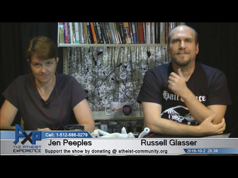Atheist Experience 20.39 with Russell Glasser and Jen Peeples
