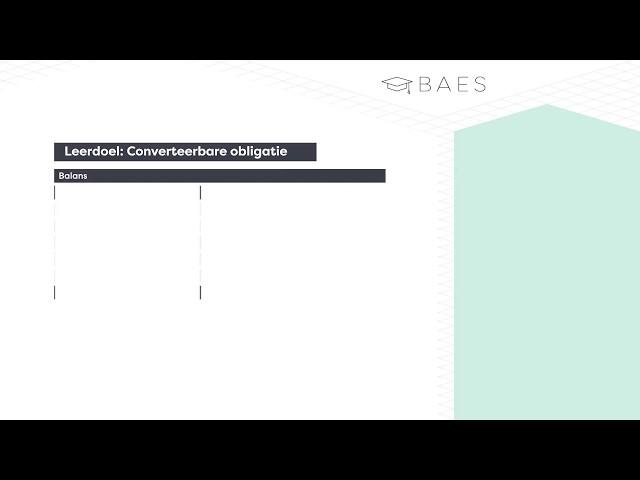 BAES Education - Financiering - (Converteerbare) obligatie lening - Theorie