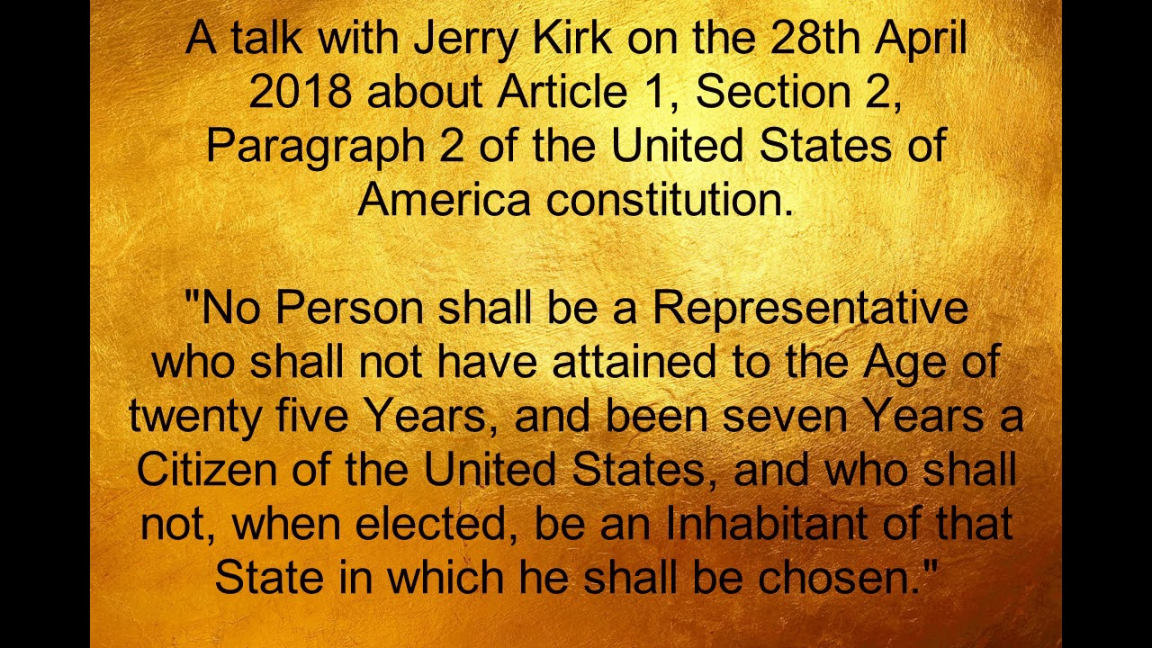 Article 1, Section 2, Paragraph 2 of the United States of ...