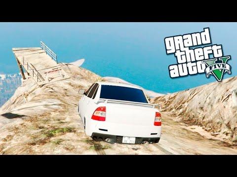 GTA 5 Моды:  приора слетела с Чилиада - русские машины