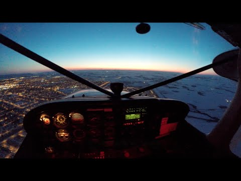 Cessna 172 - Night flying - Pilot's view - Full HD
