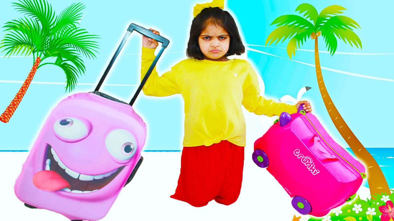 Ashu and Katy Cutie pretend play with suitcase luggage vacation travel toys