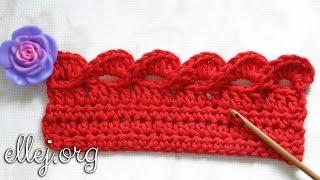 Объемная кайма крючком • Как красиво обвязать край • 3D crocheted edging.