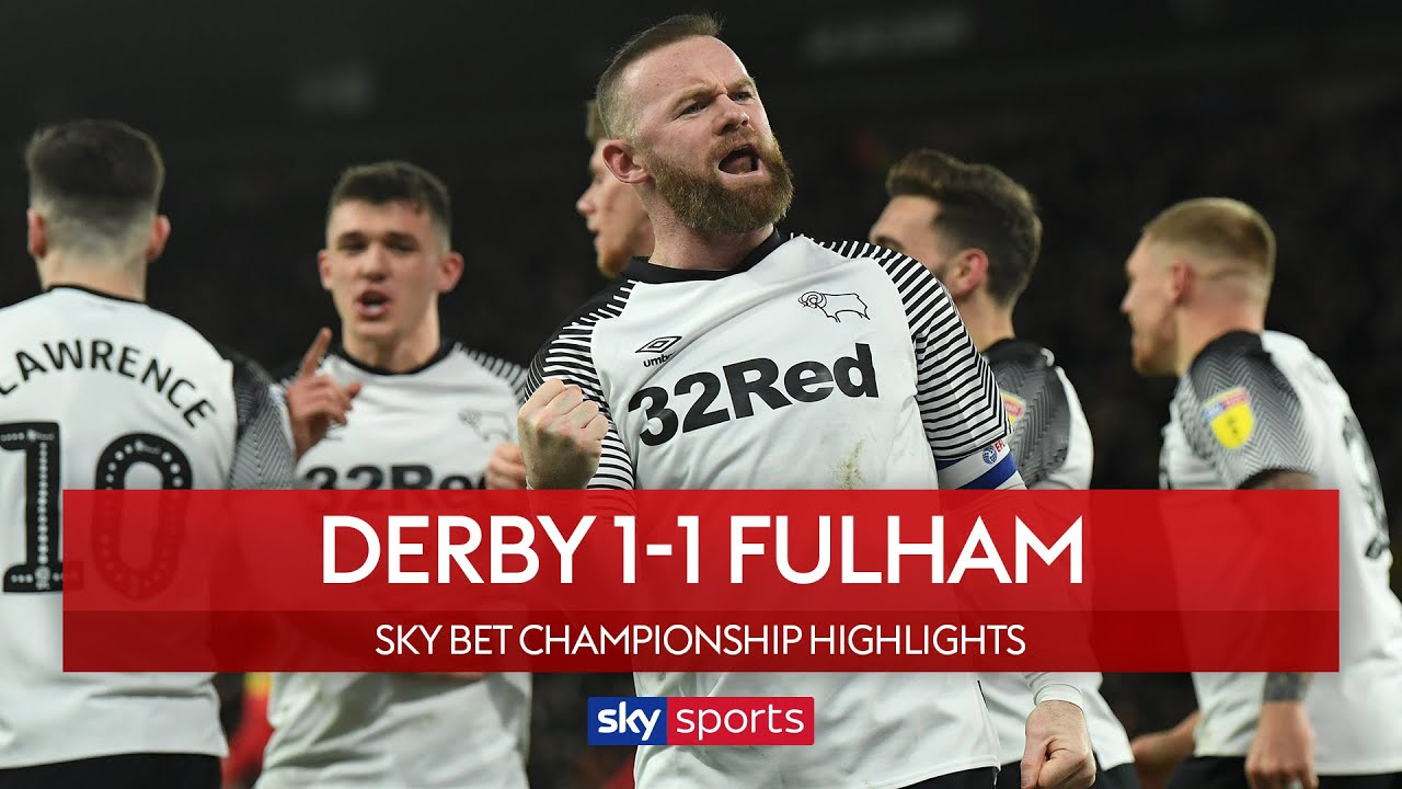 Rooney scores Panenka on 500th appearance | Derby 1-1 Fulham | EFL Championship Highlights