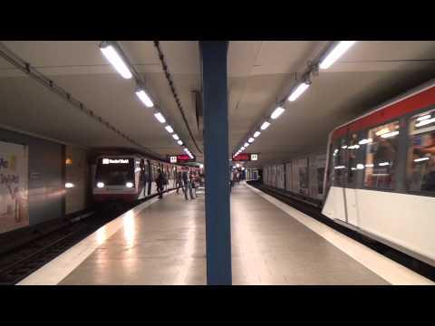 U-Bahn Hamburg DT4 Züge im Bahnhof Christuskirche U2 [1080p]