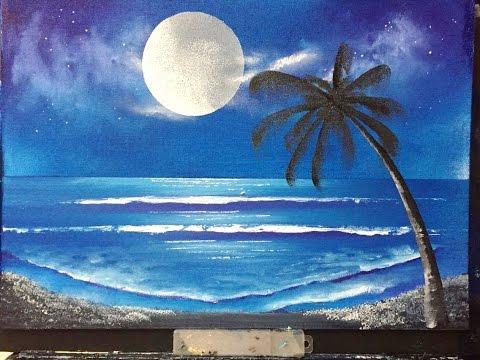 """#98. Moon Lit Beach  """"Acrylic"""