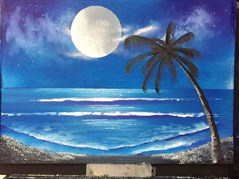 98 Moon Lit Beach Quot Acrylic Youtube