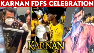 Dhanush Fans Mass Celebration at Karnan FDFS | Mari Selvaraj, Santhosh Narayanan | Rohini Theatre