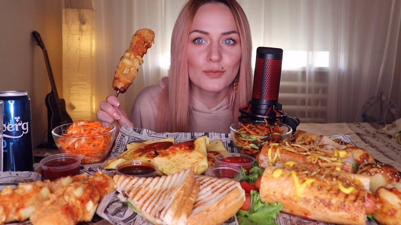 EATING   Кесадилья, корн-дог, хот-дог, сырные шарики   Corn dog, hot dog, cheese balls не MUKBANG