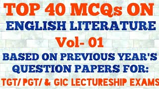 GIC Lecturer English || MCQ on English Literature Vol- 01 for GIC Lecturer TGT PGT  DSSSB UGC- NET