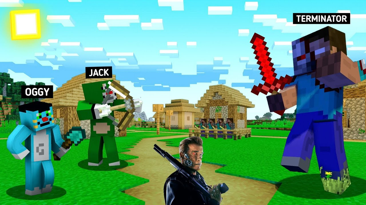 Minecraft | Terminator Attack On Oggy Jack Village | Killer Spider