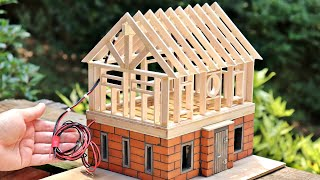 DIY Miniature House Buİld with Mini Bricks & Scrap Wood - Dream House Build
