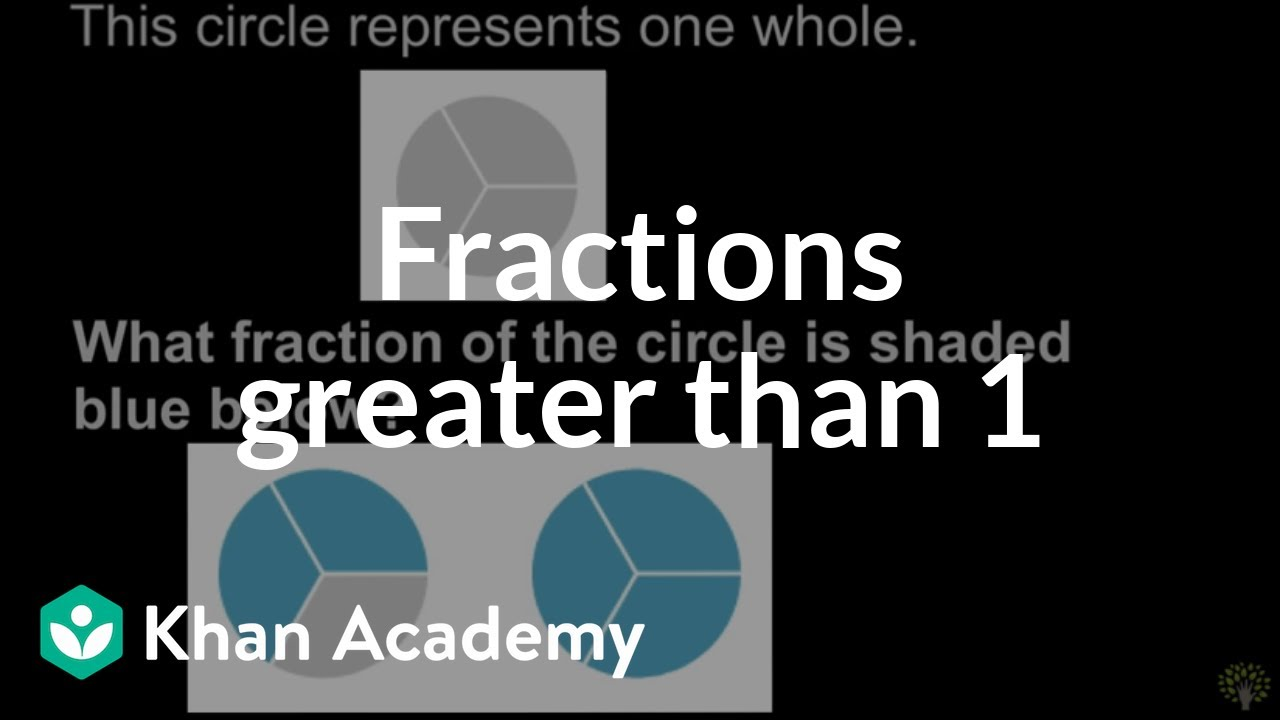 Recognizing Fractions Greater Than 1 Math 3rd Grade Khan Academy
