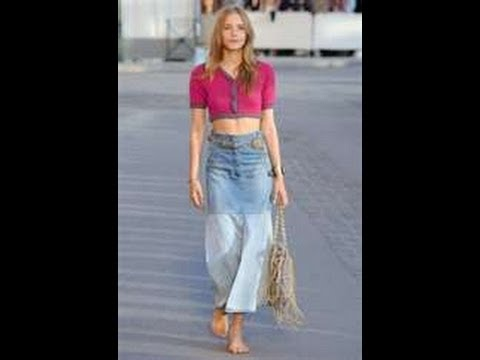 DIY HOW TO make a long trendy denim skirt - YouTube