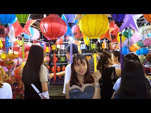 Beautiful Lantern Street in Chinatown Saigon Vietnam Nightlife - Pho Long Den Luong Nhu Hoc Quan 5