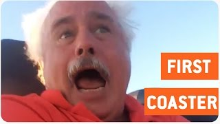 Dad Rides Roller Coaster For the First Time | First Timer