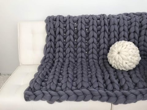 HOW TO HAND KNIT A GIANT MERINO WOOL BLANKET, RIBBING PATTERN - 10% off