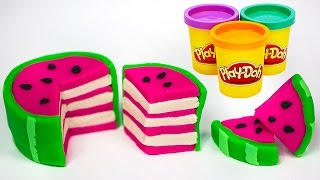 Play Doh Watermelon Cake Food Yummy Kitchen Cooking Fun Tutorial How to make Play dough Food