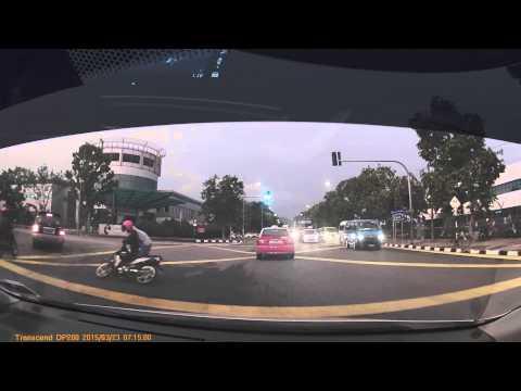 Impatient factory van knocks down bike