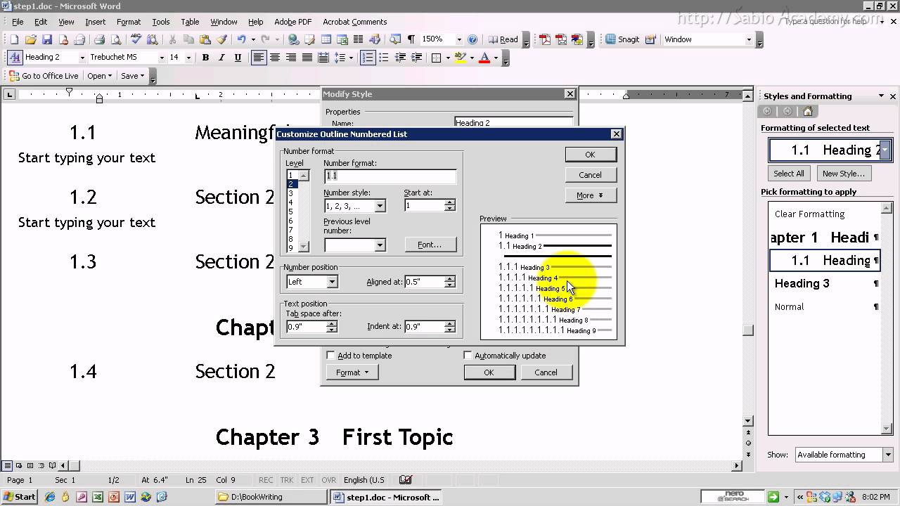 Word Document Structure 3 Subsection Numbering